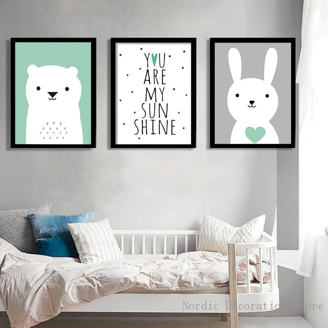Nordic Poster Baby Room Decor Cute Rabbit Bear Decoration Home Wall Art Canvas Painting Posters And Prints Unframed