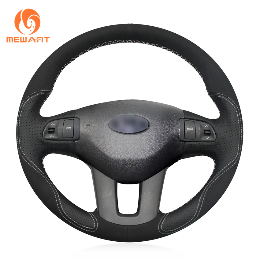 MEWANT Black Leather Black Suede Car Steering Wheel Cover for Kia Sportage 3 2011-2014 Kia Ceed Cee'd 2010-2012 mewant wine red leather black suede car steering wheel cover for chevrolet cruze 2009 2014 aveo 2011 2014 orlando 2010 2015