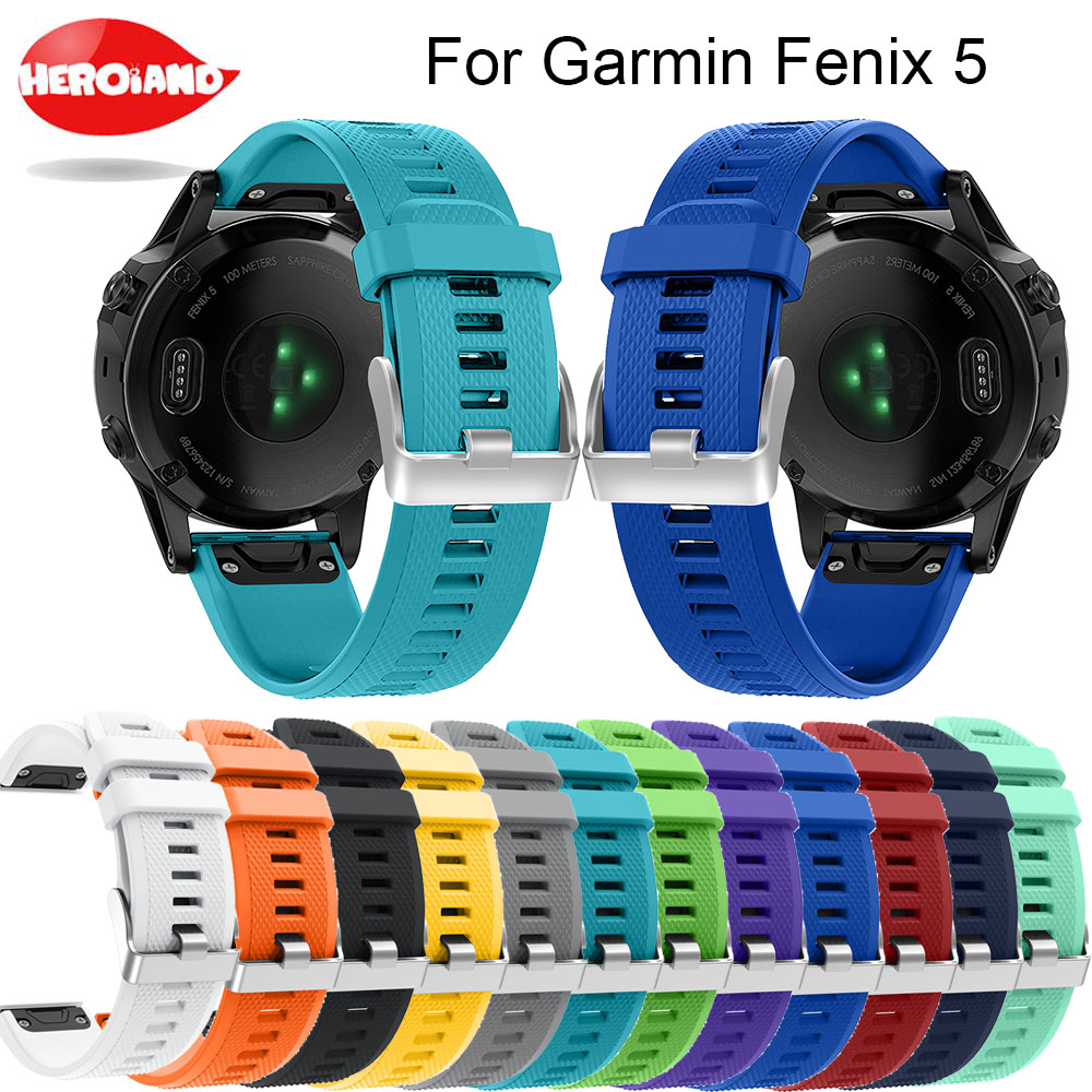 12 colors Soft Silicone Replacement wristband Watch Band bracelet strap for Garmin Fenix 5 For Smart Watch 22mm wrist band strap(China)