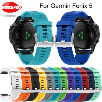12 colors Soft Silicone Replacement wristband Watch Band bracelet strap for Garmin Fenix 5 For Smart Watch 22mm wrist band strap stainless steel watch band 26mm for garmin fenix 3 hr butterfly clasp strap wrist loop belt bracelet silver spring bar