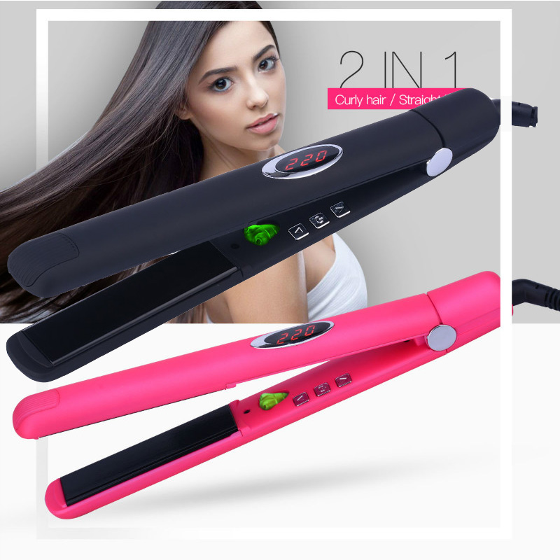 Ceramic Styling Tools Infrared Hair Curler Wand Irons Adjustable Heating Straightener Negative Ion Hair Straightening Flat Iron professional vibrating titanium hair straightener digital display ceramic straightening irons flat iron hair styling tools eu