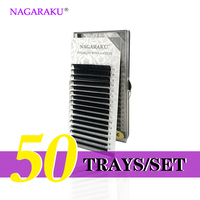 NAGARAKU 50 Trays/set J B C D Curl Length 7 15mm Mixed In One Tray Eyelash Extensions Individual Faux Mink Eyelash Lashes