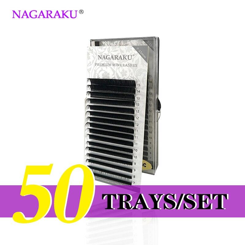 Nagaraku 50 bandejas/set J B C D cURL longitud 7-15mm mezclado en una bandeja pestañas extensiones individuales falso visón pestañas