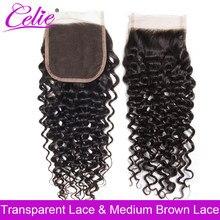 Perruque Lace Closure Remy brésilienne naturelle – Celie, cheveux bouclés, 4x4, 8 -22 pouces, Swiss Lace Closure transparente
