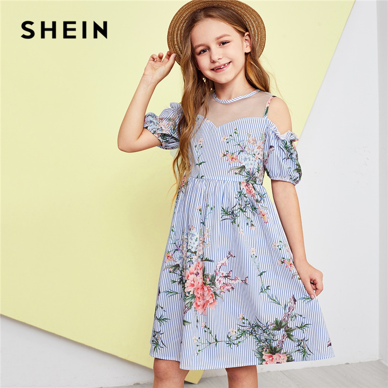 SHEIN Kiddie Girls Blue Mesh Insert Cold Shoulder Floral Striped Casual Dress Kids 2019 Summer Korean Short Sleeve Zipper Dress applique one shoulder formal dress