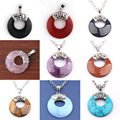 Excellent Various Natural Stone Round Hollow Mascot Reiki Charms Pendant European Classic Jewelry Women Gift Mixed 10pcs
