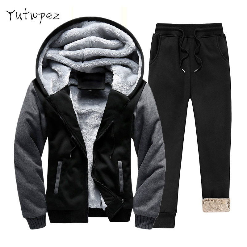 Europe Size Super Warm Fleece Hoodies <font><b>Men</b></font> Tracksuit <font><b>Winter</b></font> <font><b>Fur</b></font> Thick Hooded Sporting Suits <font><b>Men</b></font> Clothes 2019 Casual Sweat Suit image