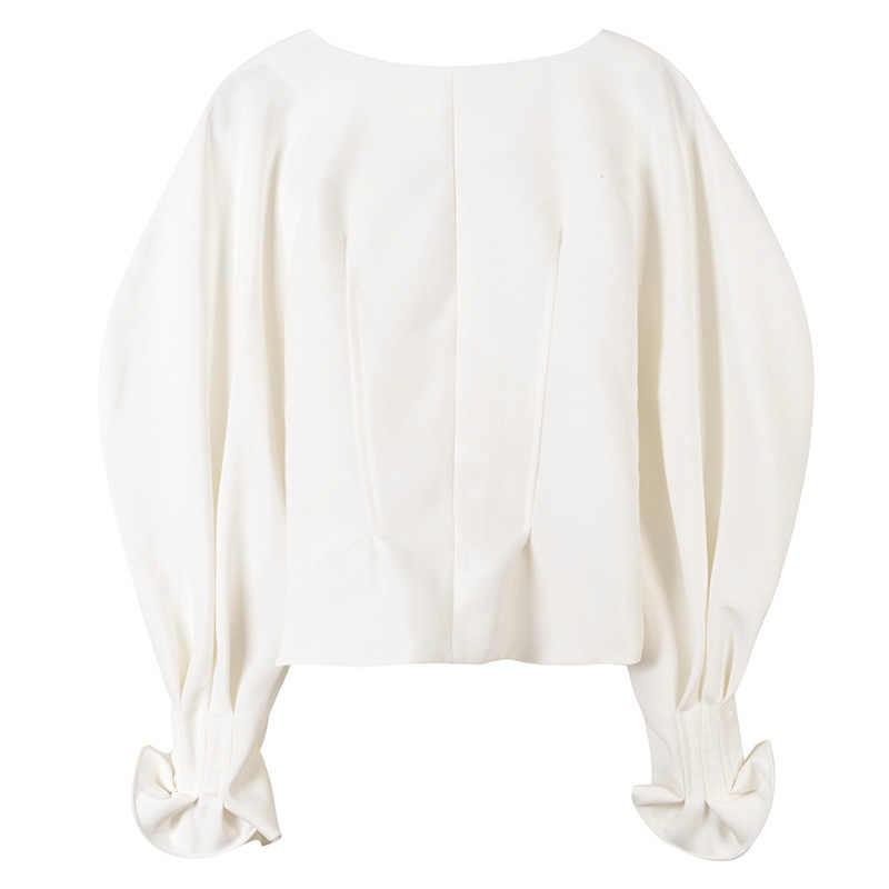 春の女性のトップスやブラウスセクシーな V ネックホワイトブラウスランタン長袖シングルブレスト固体シャツトップスプラスサイズ blusas