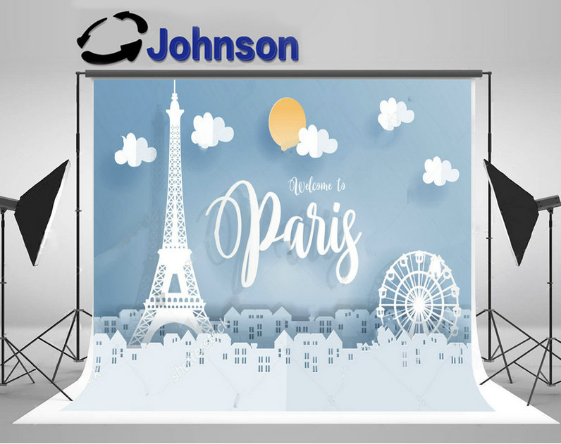 paris eiffel tower sun clouds cute city backgrounds Vinyl cloth High quality Computer print children kids backdrops