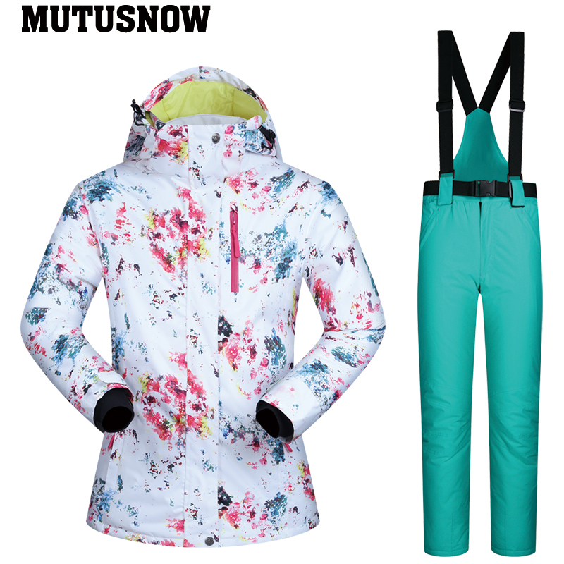 Combinaison de Ski femmes marque 2019 nouvelle haute qualité snowboard neige Ski veste pantalon chaud imperméable coupe-vent hiver Sports de plein air - 3