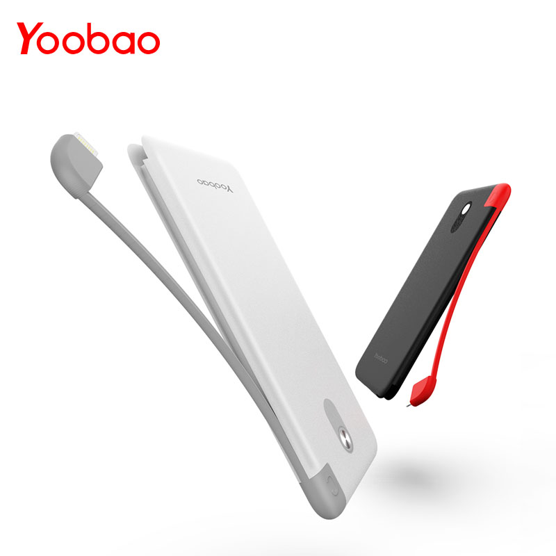 Yoobao S10K 10000mAh Built-in Cable Power Bank Dual USB Input External Battery Ultra Thin Portable Charger For Mobile Phone