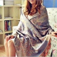 Модный бренд богемный цветочный вышитый жаккардовый шарф длинные широкие женские шарфы шарф с бахромой 65*190 см