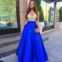 Royal Blue A Line Long Prom Dress 2019 New Sexy V Neck Beaded Top Formal Evening Gowns with Pocket Gala Vintage Shiny Prom Gowns
