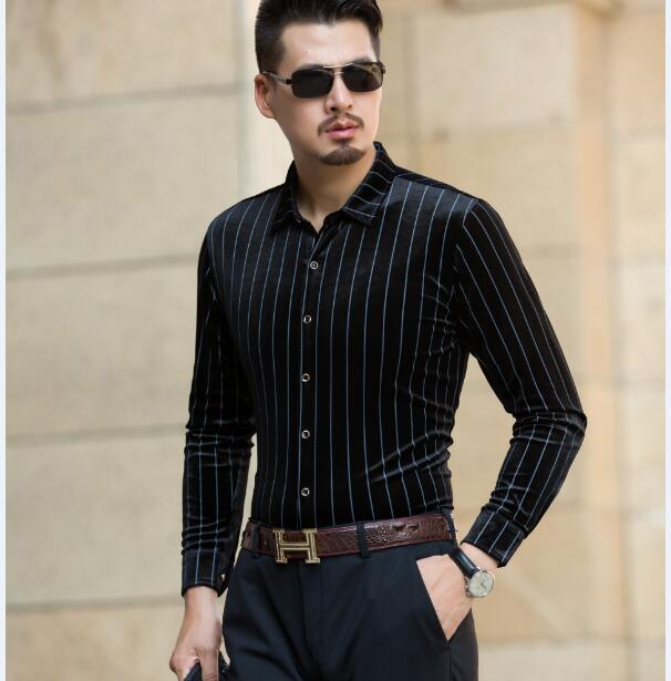 New arrival 2017 mens gold velvet dress shirts autumn fashion striped shirt long sleeve male gold velvet shirts