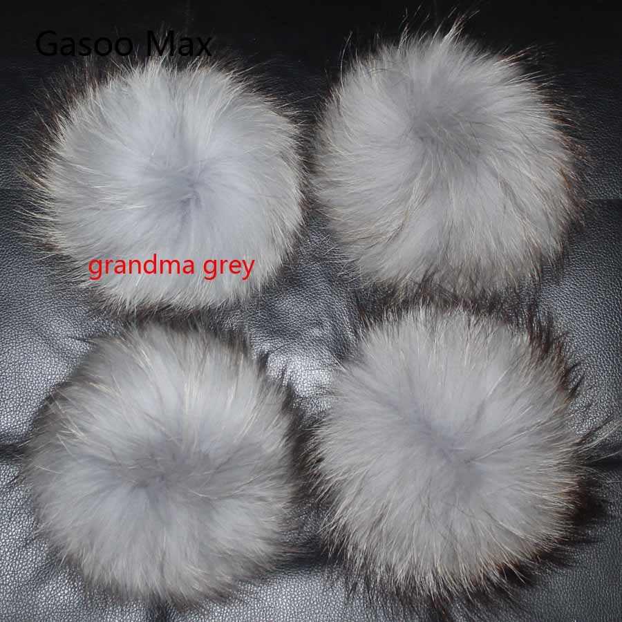 5 pçs/lote DIY pompom 13-14cm 15 centímetros bolas de pele de Guaxinim e Pele De Raposa pom poms para gorros cap chapéu de malha e um lenço pompons de peles reais