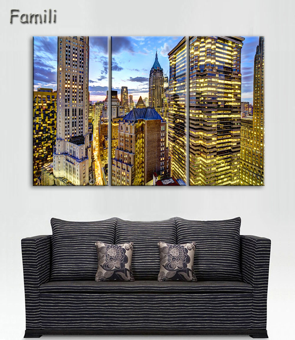 3pcs Pantings On The Wall Art Canvas Painting New York City Wall Pictures For Living Roo ...
