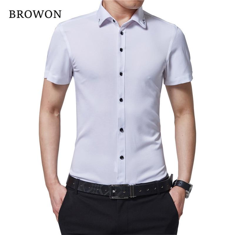 BROWON Marca Hombres Camisa de verano Camisa de seda casual Camisa de manga corta con cuello caído Camisa de negocios estilo delgado para hombre