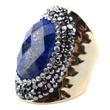 90ae9eebc6a3 BOJIU de moda oro y plata grandes anillos de piedra para las mujeres Boho  negro de