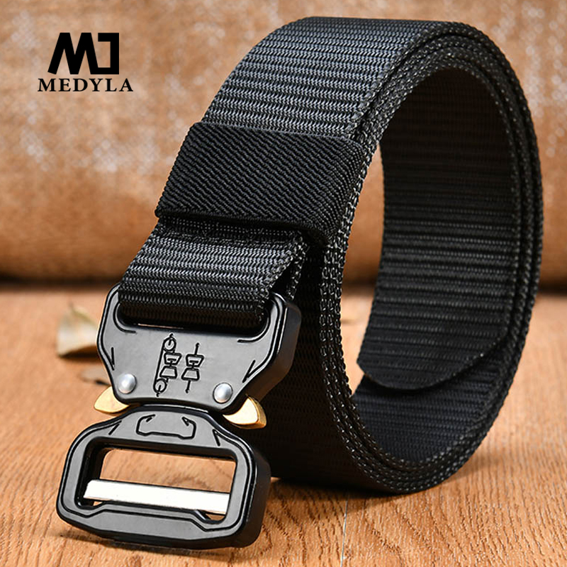 MEDYLA Men's Canvas   Belt   Combat Military Equipment Tactical Strap Nylon Metal Buckle US Army Soldier Carry Waistband