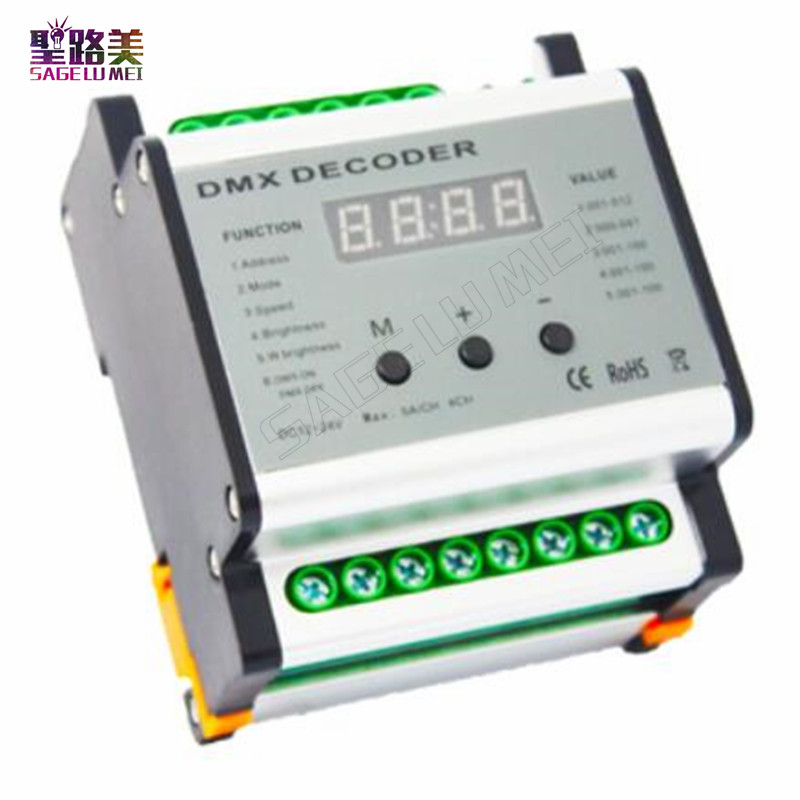 Free shipping DC12V - 24V DMX Rail 4CH Decoder DMX512 4 channels LED Controller Dimmer Output 5A/CH MAX 480W Output Power недорго, оригинальная цена