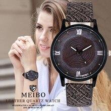 Горячие MEIBO бренд Для женщин Для мужчин деревянные часы Повседневное Винтаж кожа кварцевые часы Для женщин Мода Деревянные платье часы Прямая доставка