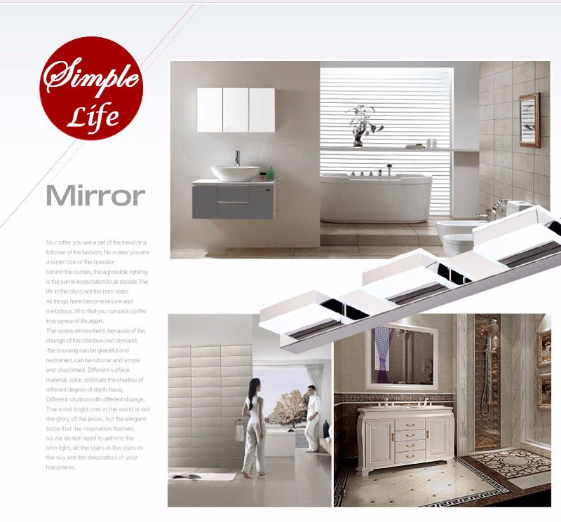 Morden 3W-12W Anti-fog Waterproof Acrylic Led Mirror Light Bathroom Wall Lamp Brief Individuality Make-up Mirror Cabinet Lamp (4)