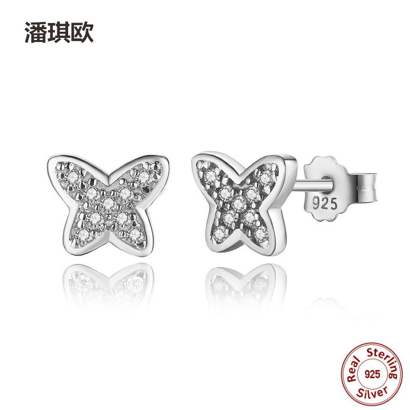 New Retro 925 sterling silver white CZ Butterfly Stud Earrings For Women Compatible with pan jewelery Fine 1 pair Earring