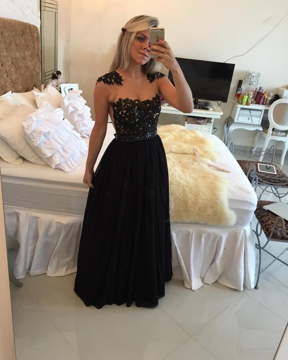 Chiffon A-Line Black Long   Prom     Dresses   2019 Jewel Neck Cap Sleeves Vestidos De Formatura Lace Applique On Tulle   Prom  /Party   Dress