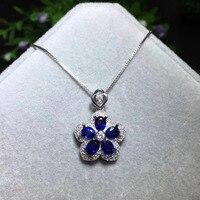 Мода Грейс лепесток естественный голубой сапфир камень кулон S925 серебро Природный камень кулон Цепочки и ожерелья женские вечерние украше