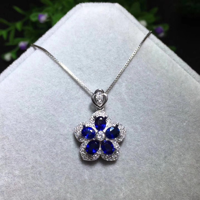 Fashion grace flower petal natural blue sapphire gem pendant s925 fashion grace flower petal natural blue sapphire gem pendant s925 silver natural gemstone pendant necklace women aloadofball Gallery