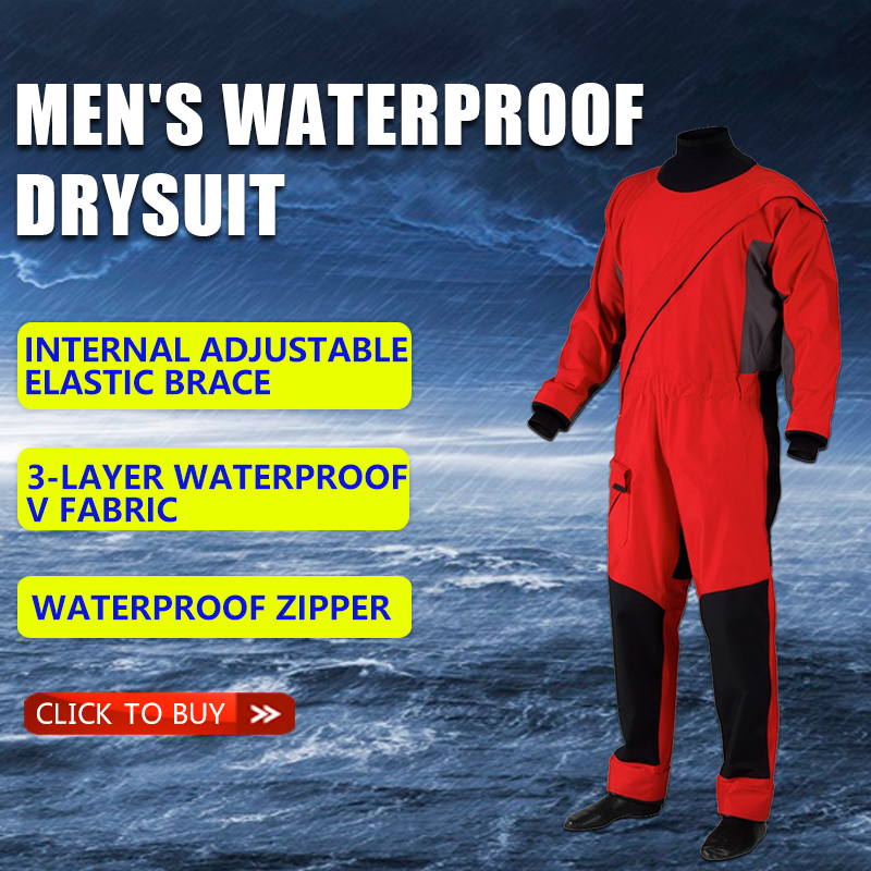 Men's waterproof clothing dry  suit waterproof and breathable warm and cold-proof one-piece suit, nautical fishing suit