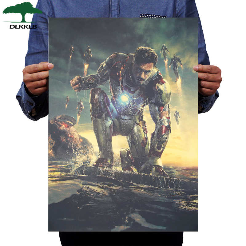DLKKLB Marvel Movie Poster Vintage Iron Man Kraft Pittura Decorativa Avengers Classic Autoadesivo Della Parete di Bar Cafe Complementi Arredo Casa 51X36cm
