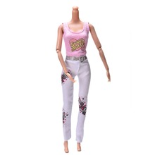 Doll Clothes Tank Trousers Set Summer Cartoon Pink Vest White Pants For 11 Barbie Doll Clothing