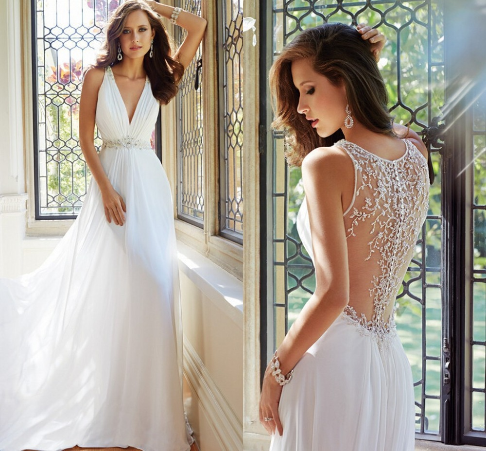 2015 Latest Chiffon A-Line White Wedding Dress Sexy Elegant Sleeveless V-Neck Church Lawn Beach Bridal Gowns Large Code - Esaer Store store
