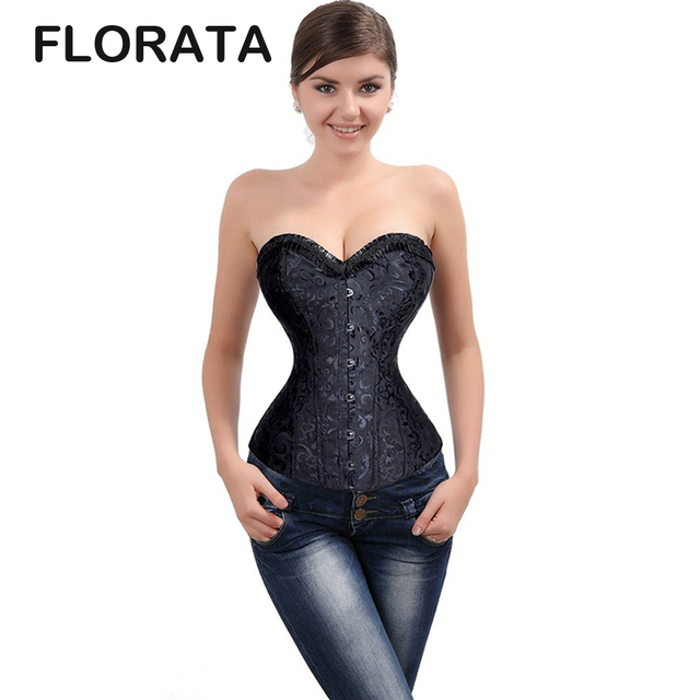 FLORATA High Quality Black spiral steel boned Waist  Overbust lace up corset Sexy bustier Top Body Shaper