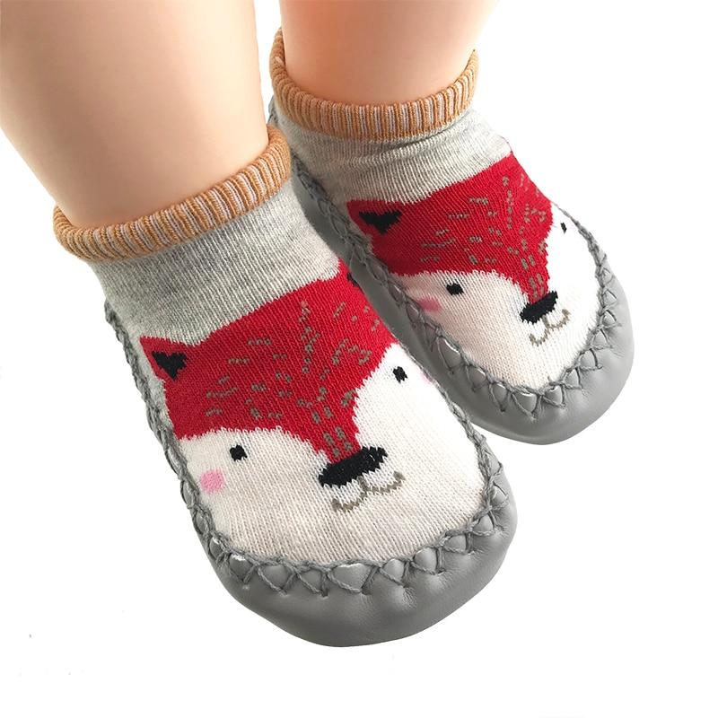 New Born Baby Shoes Toddler Girl Sock Shoe For Newborn Bebe Foot Socks Soft Rubble Soles Fox Bunny Infant Boys Slippers Walker