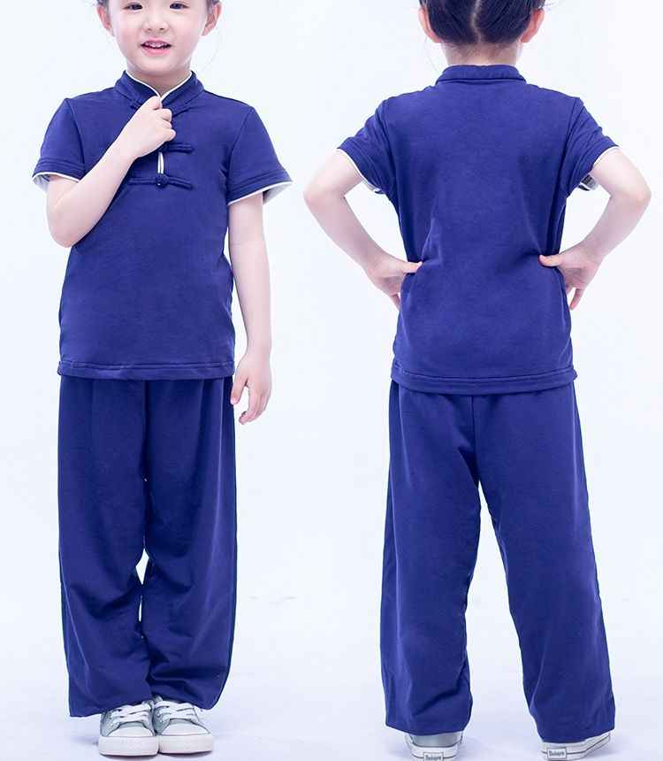Unisex zomer kids jongens/meisjes Kung fu martial arts uniformen kinderen wushu pakken tai chi kleding blauw/zwart /grijs met elestic
