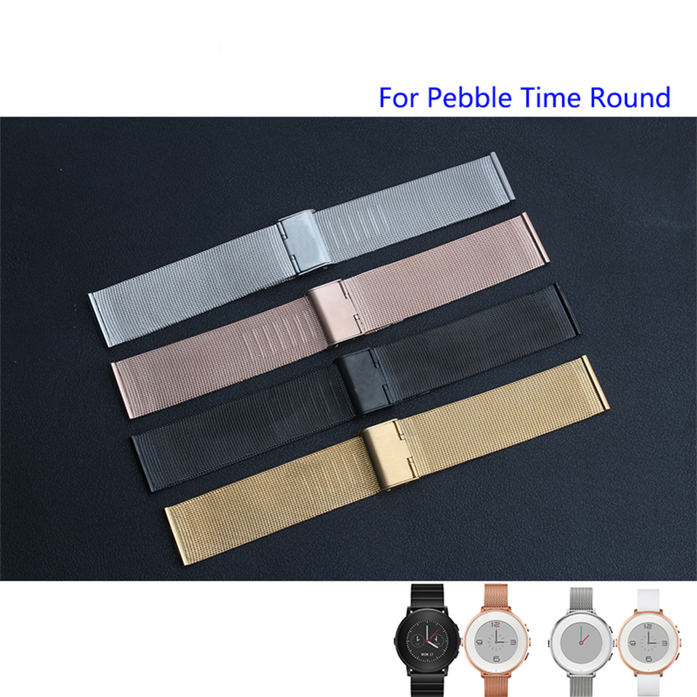 Milanese Mesh Armband für Pebble Time Round Quality Edelstahl Uhrenarmband 14mm20mm Damen- und Herrenarmband