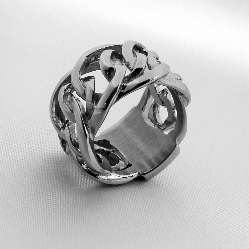Chain Rings For Men Women Punk Rock Handmade Unisex Biker Ring European Style 316L Stainless Steel Jewelry VR166