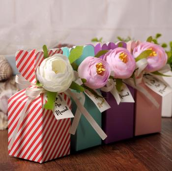 50pcs 12*5*5cm Flower Candy Box Chocolates Boxes With Ribbon For Wedding Party Baby Shower Favor Gift