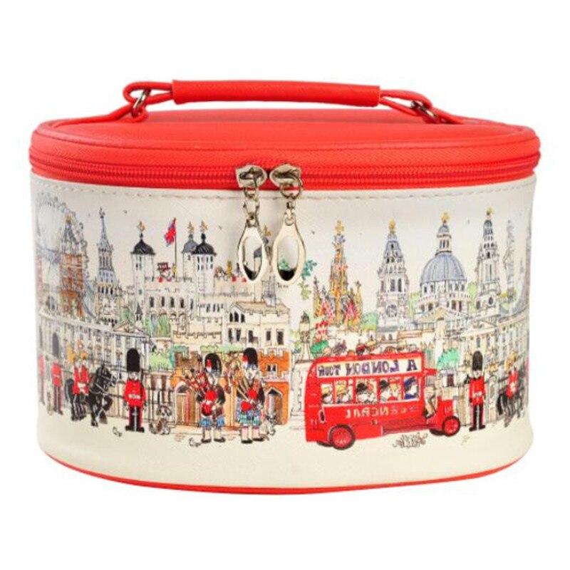 2017 fashion woman cosmetic cases organizer bag travel barrel shaped make up bag PU woman travel