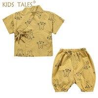Newborn Japanese Baby kimono Tracksuit Baby Boys Clothes Pants + Tops Kids Print Cotton Kids Clothing Set Child Infant Clothes