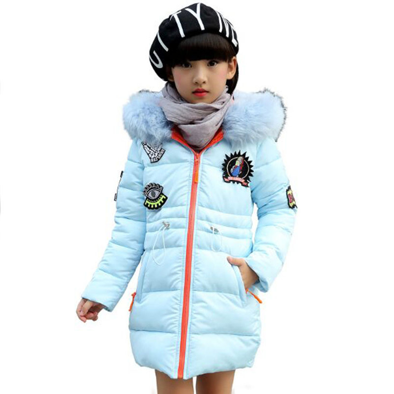 ФОТО 2016 Winter Girl Long Jacket Fashion For Collar Jacket Girl  Cotton Thicker Warm 4Color Optional For 3-10 year