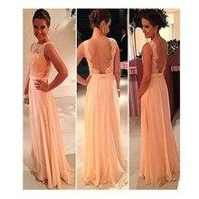 Neue einfache Blush Sheer Zurück lange prom Kleid mit Appliques Chiffon Foraml Abendkleid Benutzerdefinierte Vestido De Festa Gala jurken