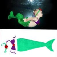 Haak Mermaid Cocoon en Hoofdband Fotografie Props Pasgeboren Meisjes Mermaid Kostuum Baby Haak Outfits 1 set MZS-15072