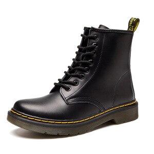 حار العلامة التجارية الرجال مارتنز جلد الشتاء أحذية دافئة دراجة نارية رجل حذاء بوت بطول الكاحل الوثيقة مارتينز الفراء زوجين أوكسفورد أحذية