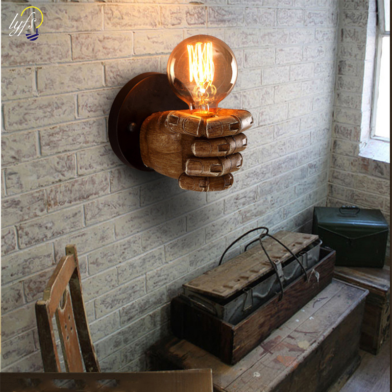 lyfs 7.5X11cm Creative Fist Resin Wall Lamps Decoration Cafe Restaurant Bar Bedroom Wall Lamp E27 90V 260V