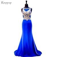 Uzun Abiye 2017 Mermaid Stil Kolsuz Altın Dantel Kat Uzunluk Kadınlar Backless Kraliyet Mavi Abiye giyim