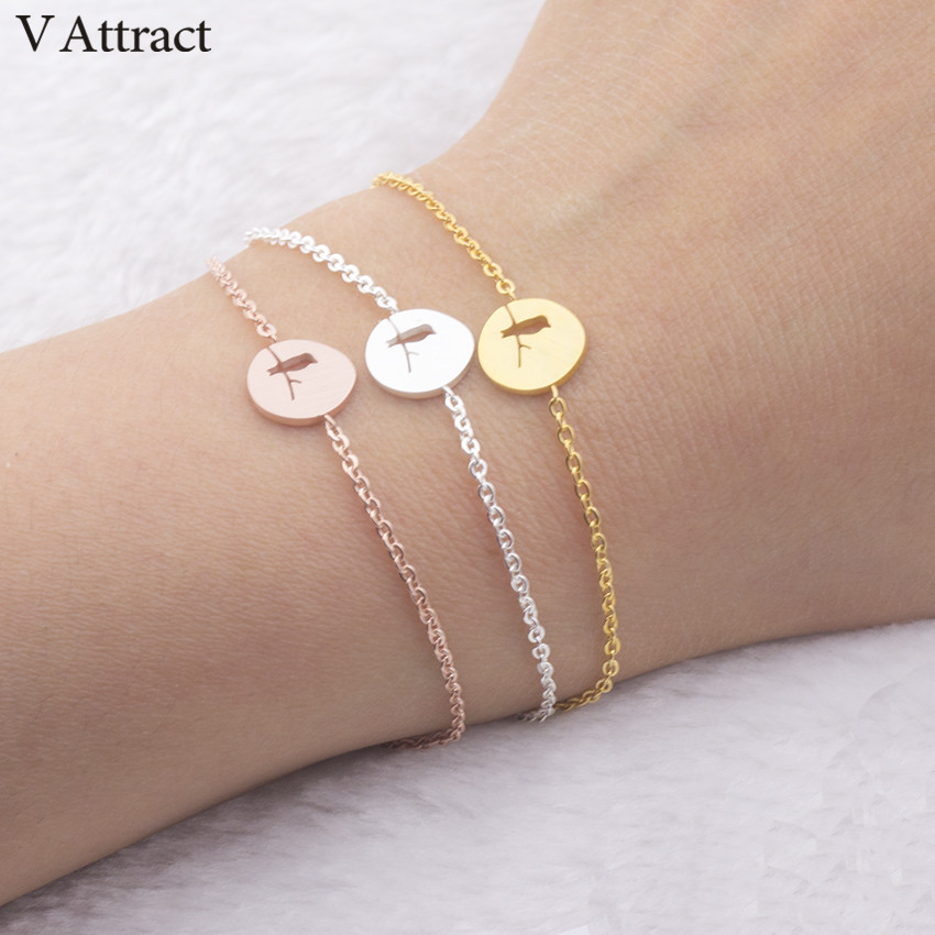 V Attract 2018 Stainless Steel Bird on Branch Charm Bracelets for Women Jewelry Rose Gold Silver Chain link Pulseira Masculina