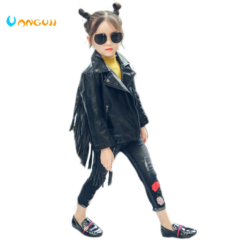 2017 autumn winter hot children PU jacket, 2-7 year old girl fashion lapel, tassel leather, motorcycle leather jacket